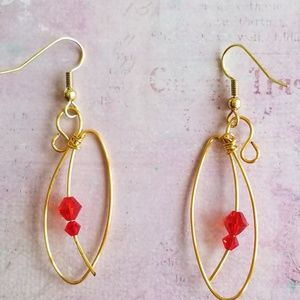 5688e15dc Jewelry - 🌷2.5 inch Gold Marquis Earrings with Red Crystals